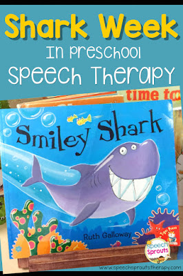 Read Smiley Shark in Speech therapy during your shark week or ocean themes. Plus 13 more great shark activity ideas that go Chomp! www.speechsproutstherapy.com #speechtherapy