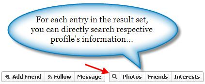 Profile search option in Facebook graph search