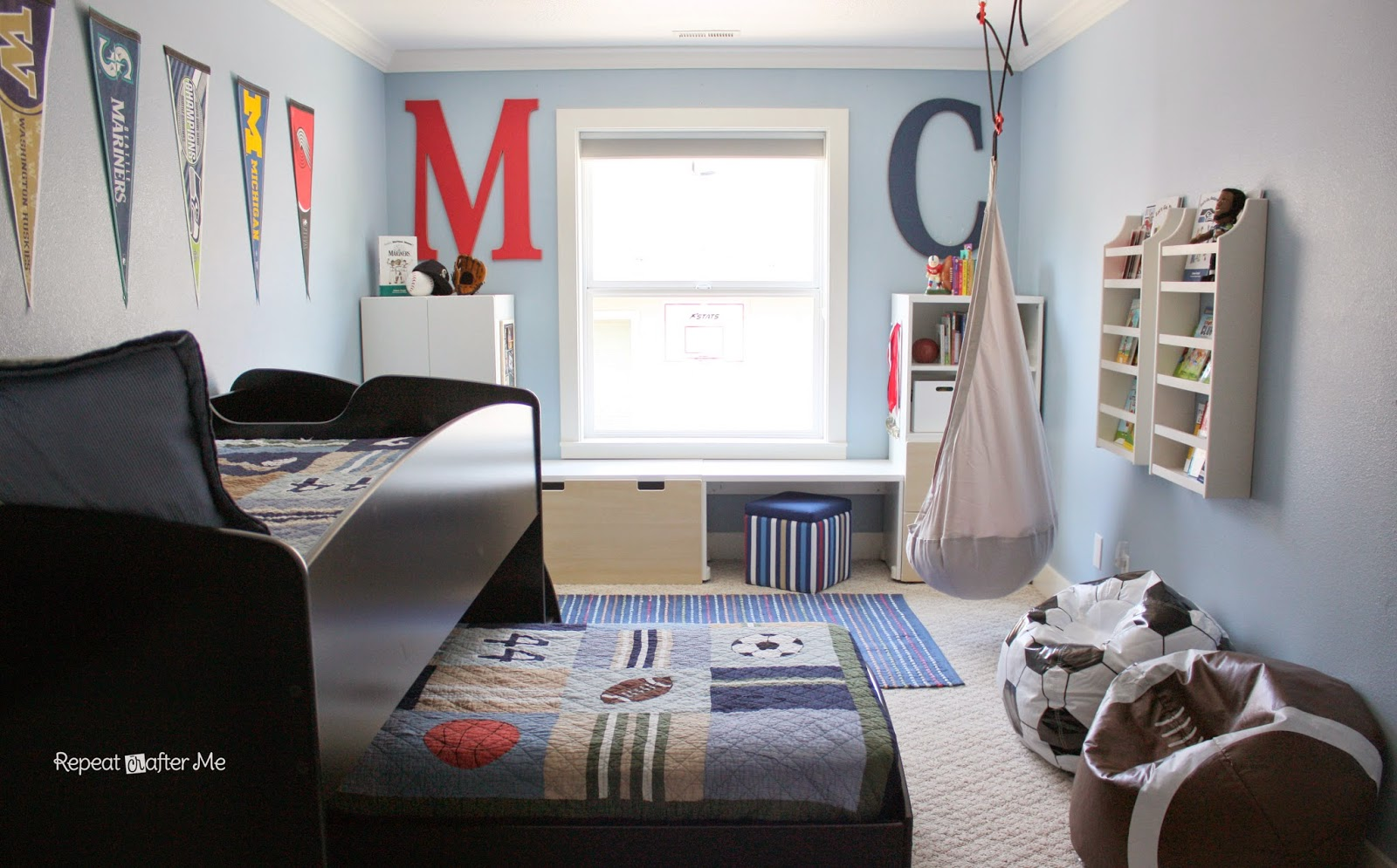 Baseball Themed Bedroom Repeat Crafter Me Boring To Bold Boys Sports Themed Bedroom