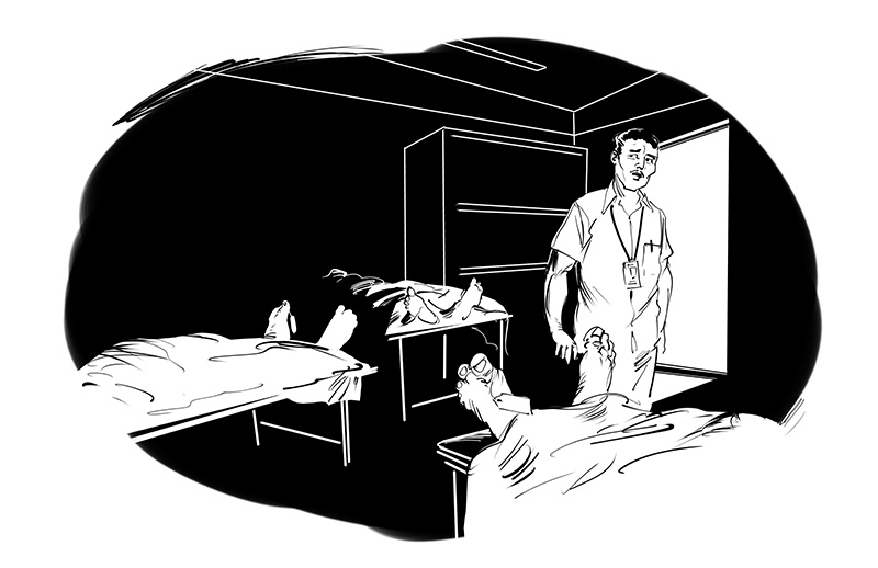 horror story illustration morgue deadbody