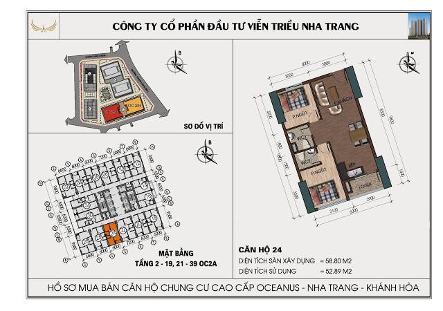 Sơ đồ căn hộ số 24 tòa OC2A Viễn Triều Nha Trang