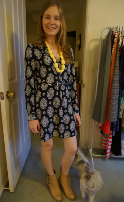 belted Zara printed tunic dress acne pistol boots dress for evening dinner outfit