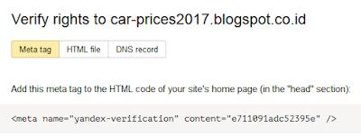 Mendaftarkan Blog keYandex Webmaster2