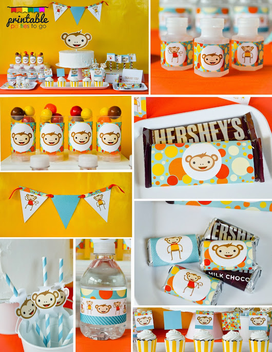 ●●●RETRO MONKEY PARTY PRINTABLE SET●●●