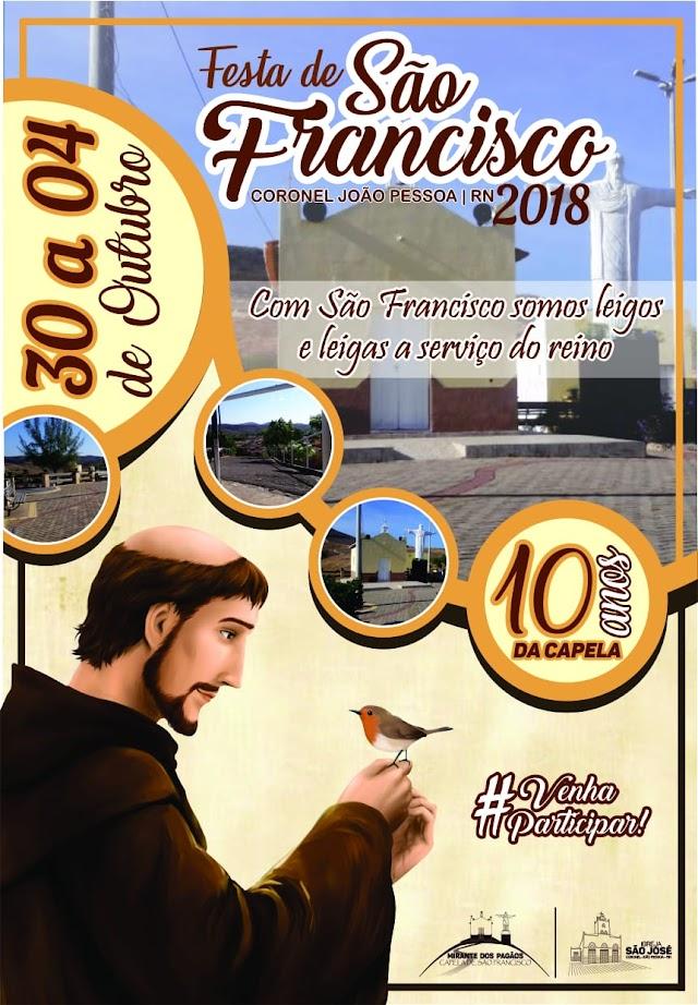 Festa de São Francisco em Cel. João Pessoa, irá comemorar 10 anos