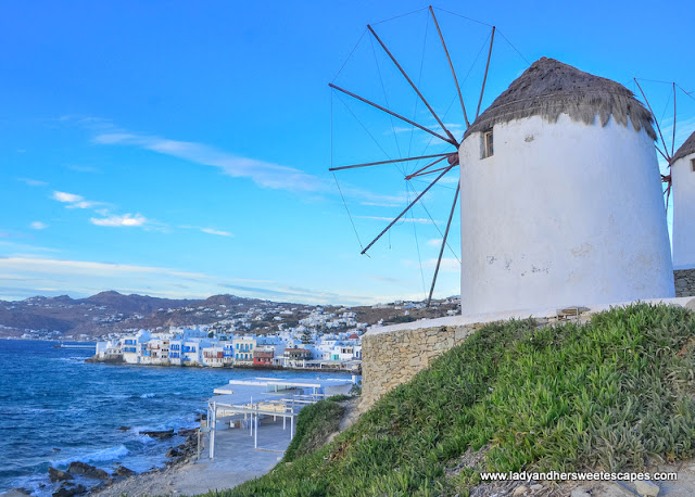 The famous windmills of Mykonos overlooking Little Venice