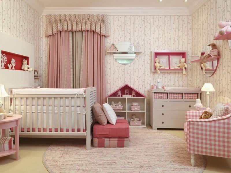 Habitación bebé rosa y blanco