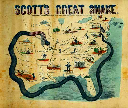 mapa 1861 de la historieta que ilustra el plan del Anaconda de Gen. Winfield Scott.