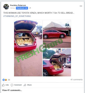 Woman Spotted Selling Bread With Toyota Venza Worth 7.5million (Photos)