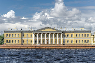 Quarenghi's building for the Academy of Sciences on the banks of the Neva river in St Petersburg