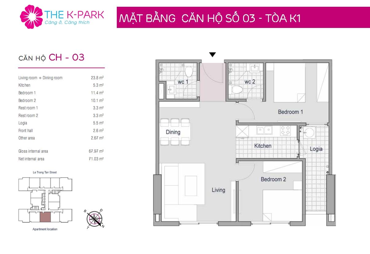 Mặt bằng căn hộ số 03- Tòa K1