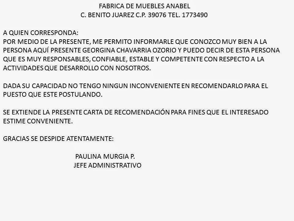 Elabora CARTAS DE RECOMENDACION