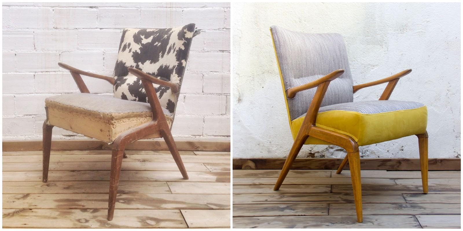 Antes y Después - Sillón nórdico años 50 restaurado y retapizado