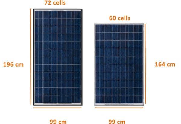 مقاسات الواح الطاقة الشمسية