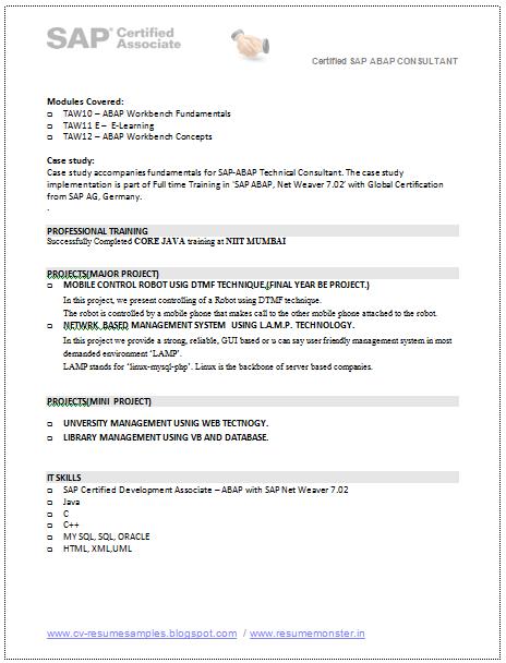 sap bw resume sample resume cv cover letter sample resume word