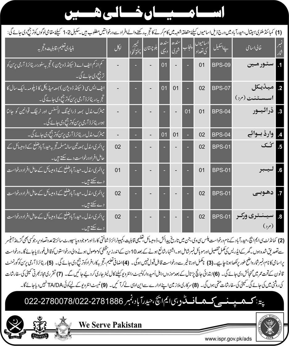 Jobs In Combined Military Hospital Hyderabad Feb 2018