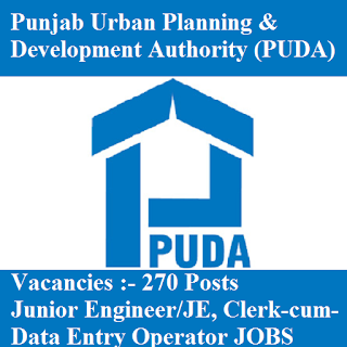 Punjab Urban Planning & Development Authority, PUDA, Punjab, JE, Junior Engineer, DEO, Data Entry Operator, Graduation, freejobalert, Sarkari Naukri, Latest Jobs, puda logo