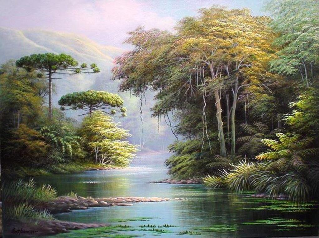Cuadros modernos pinturas y dibujos naturalismo en los for Pintura para estanques