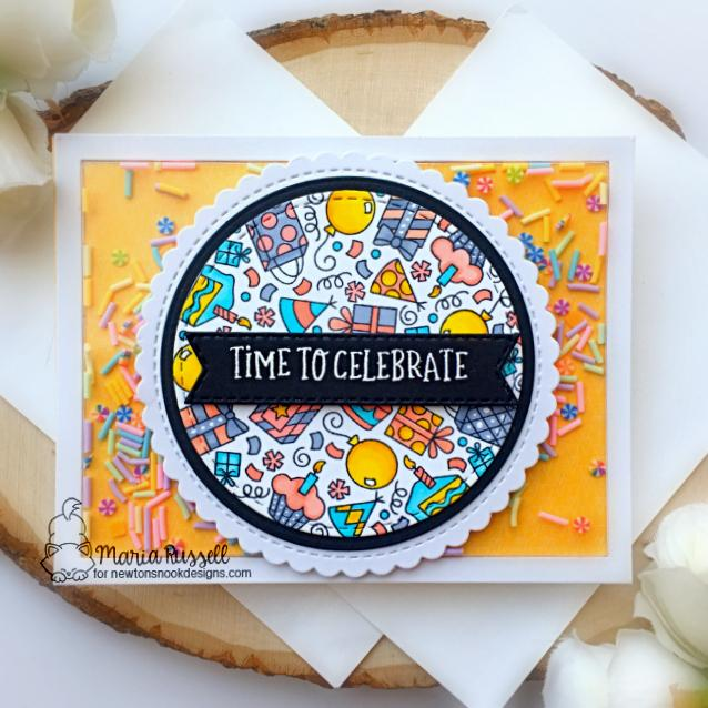 Celebrate! Birthday Card by Maria Russell | Birthday Roundabout Stamp Set, Circle Frames Die Set, and Banner Trio Die Set by Newton's Nook Designs  #newtonsnook #handmade