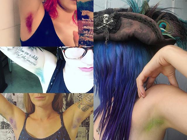 kolorowe włosy pod pachami