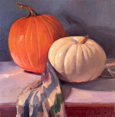 pumpkin still life oil painting by sarah sedwick