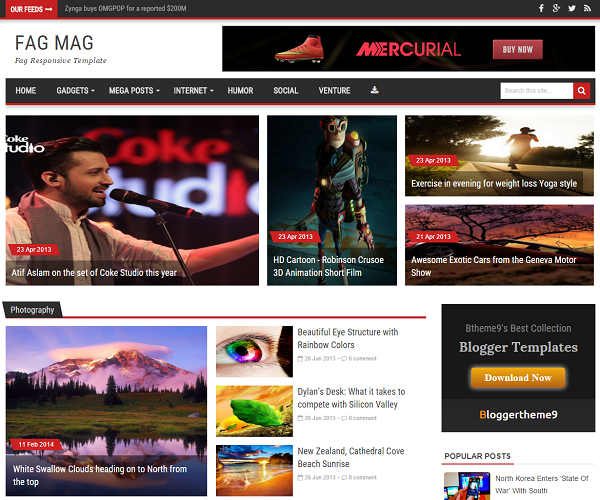 FagMag is a magazine blogger template which can attract visitors attention with its 35 plus posts on homepage.