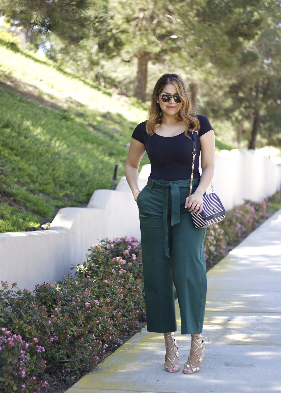 Banana Republic wide leg pants, how to wear culottes, curvy woman wears culottes, latina blogger in fashion