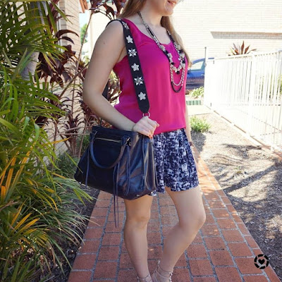 awayfromtheblue instagram pink satin singlet blue printed soft shorts summer SAHM style Rebecca Minkoff accessories
