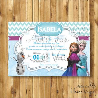 convite digital aniversário infantil personalizado frozen anna elsa olaf let go neve gelo festa chá de bebê fralda menina 1 aninho azul branco