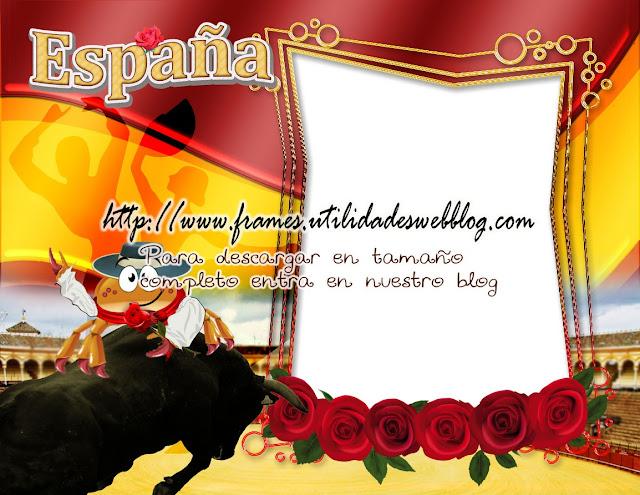 marco para fotos con bandera y tradiciones de España