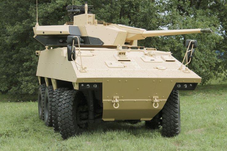 Дослідний зразок колісної БМП VBCI 2, озброєний гарматою СТ40 у двомісній башті Т40