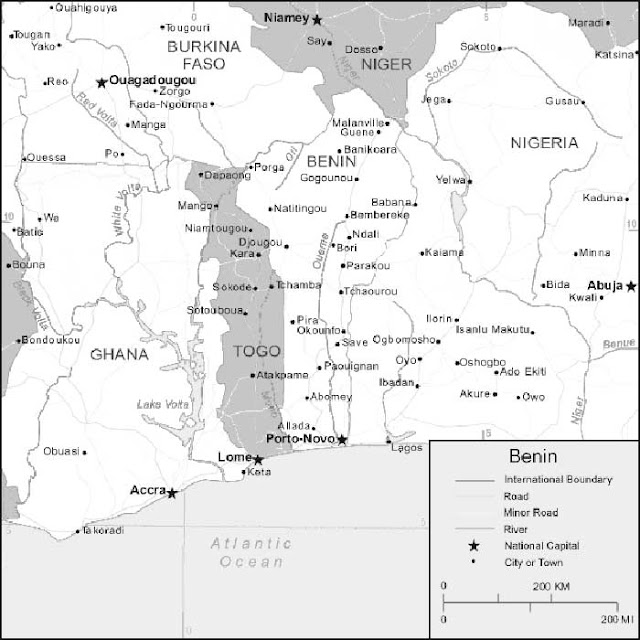 image: Black and white Benin map