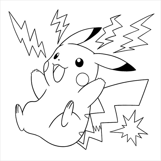 pikachu in action coloring pages - photo#11