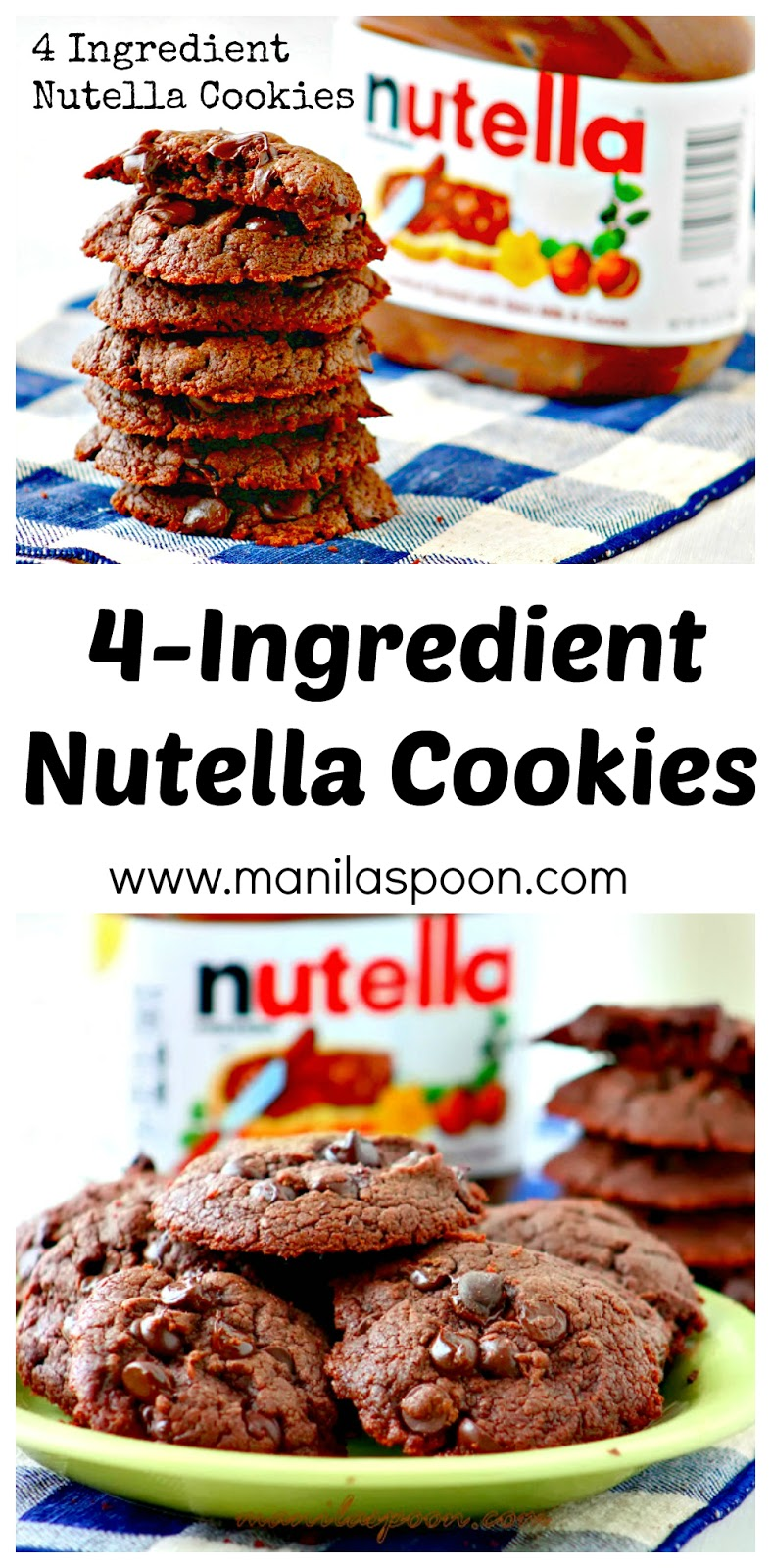 Super-easy and truly yummy are these 4-Ingredient Nutella Cookies! You must absolutely try this if you're a big Nutella fan! #4 #ingredient #nutella #cookies #easy