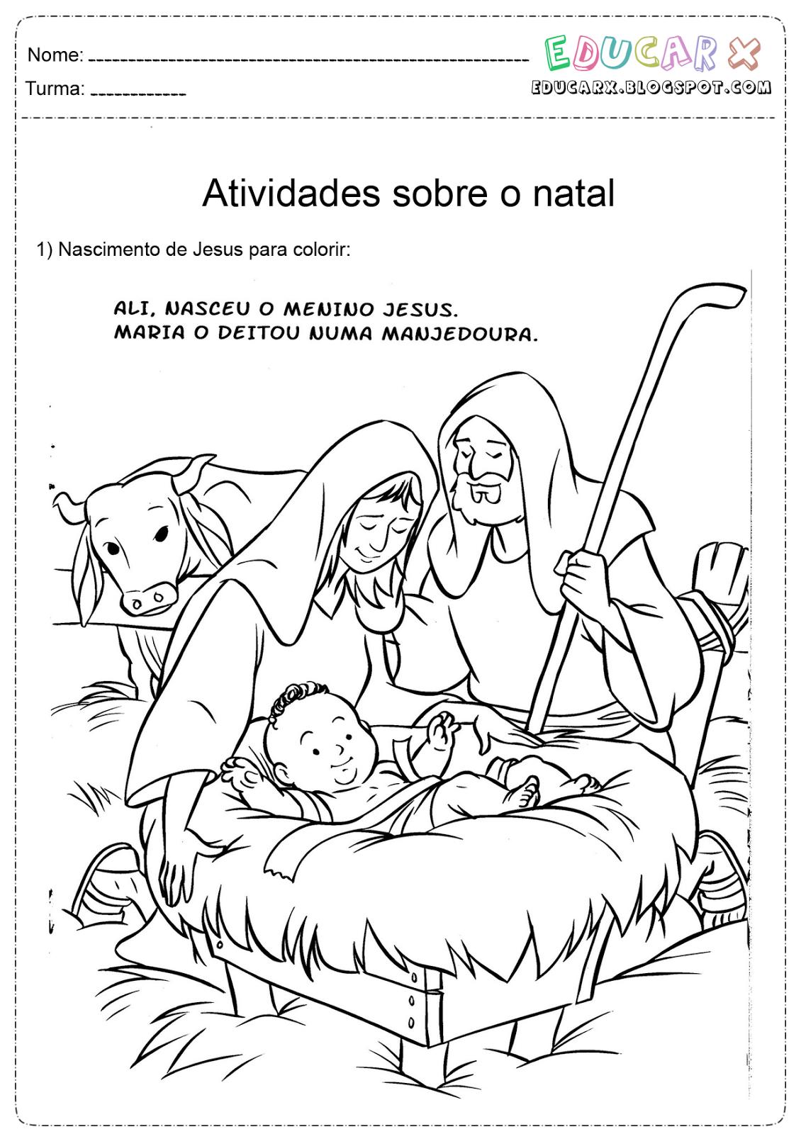 Educar X Colorir Natal Nascimento De Jesus Cristo