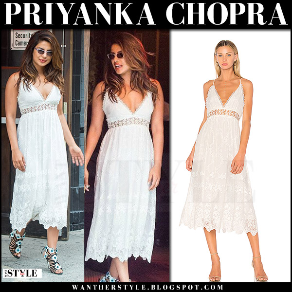 Priyanka Chopra in white lace midi dress zimmermann curacao what she wore new york july 2017