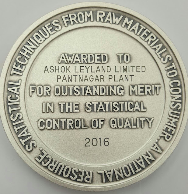 Ashok Leyland, Pantnagar conferred the 2016 Deming Prize for the successful implementation of Total Quality Management