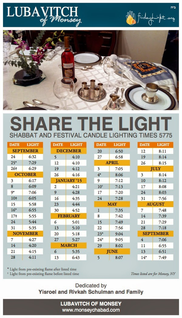 chabad of greater monsey candle lighting times for 5775 magnets