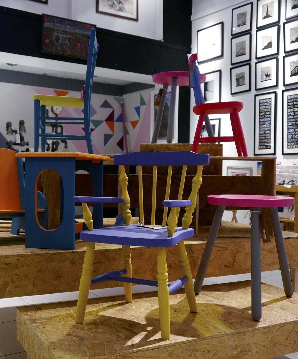 The Scottish Design Exchange, Edinburgh shopping, alternative shopping in Edinburgh, Ocean Terminal, fashion, Scottish fashion blogger, colourful furniture