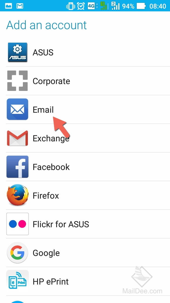 how to add email account to android samsung