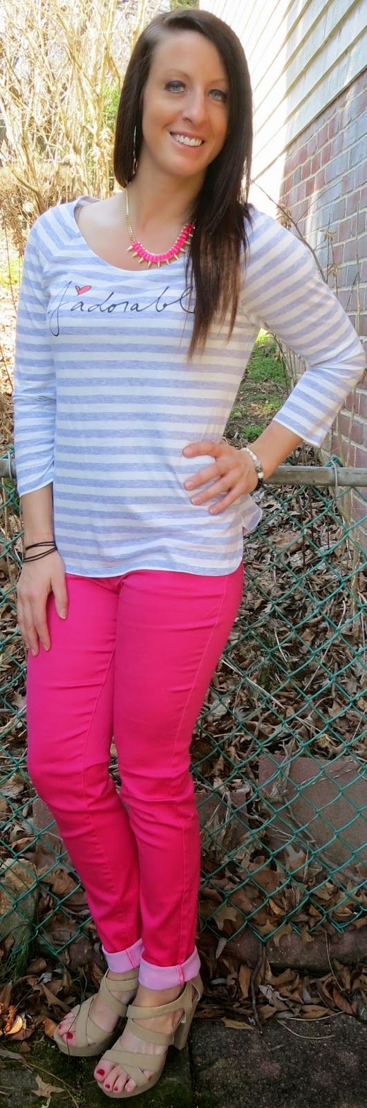 jadorable, peter som, peter som for kohls, casual, pink jeans, striped shirt, fashion, outfit