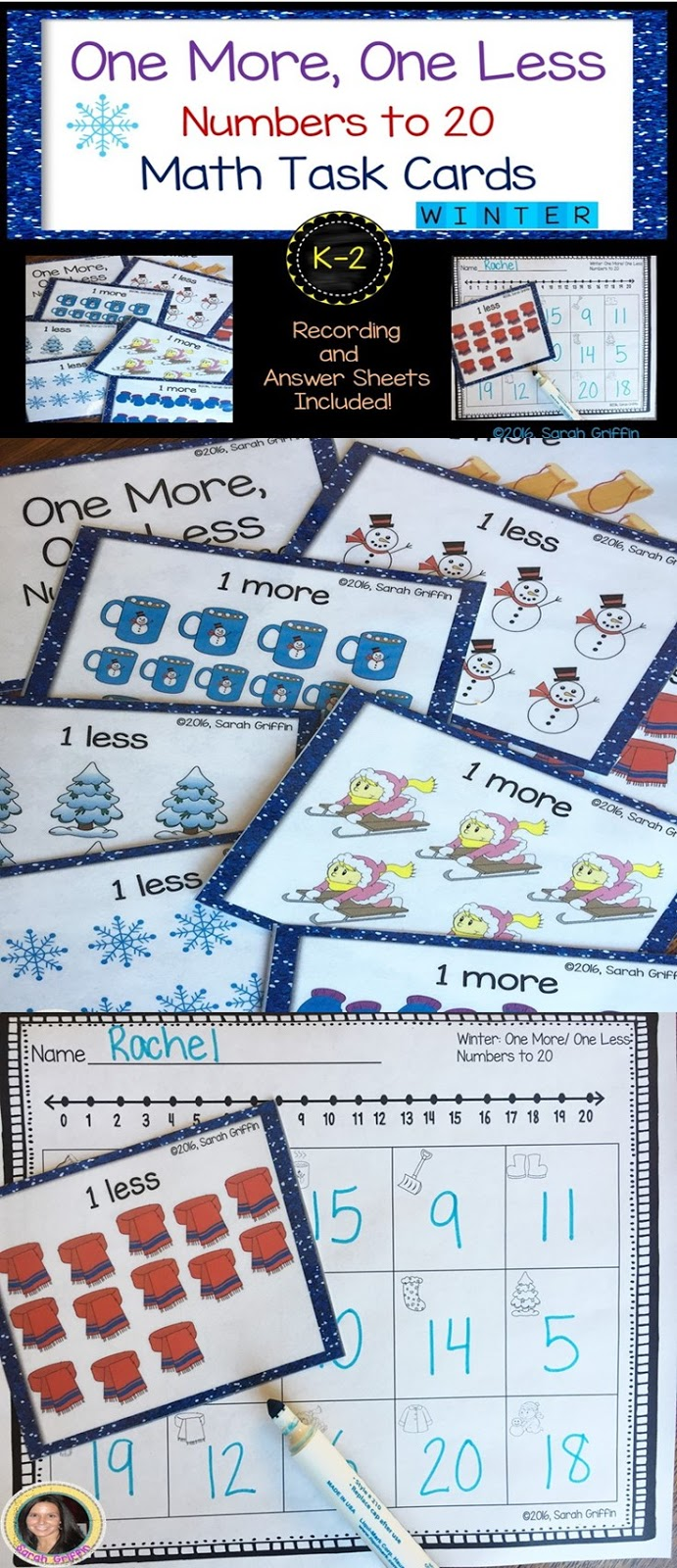 Daughters and Kindergarten: One More, One Less Math Centers