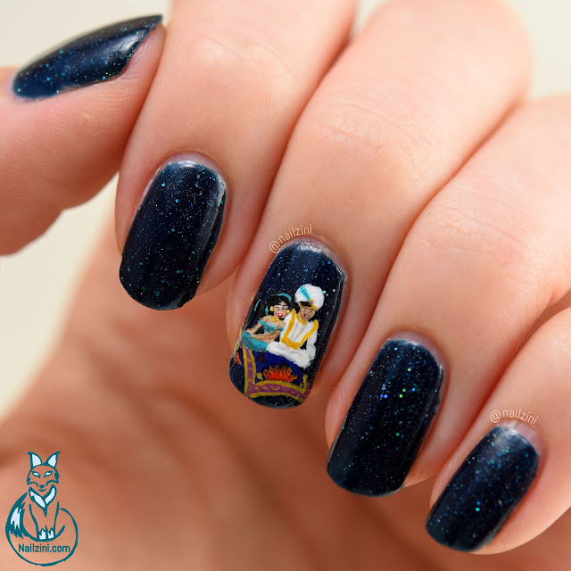 Aladdin and Jasmine Nail Art Nailzini