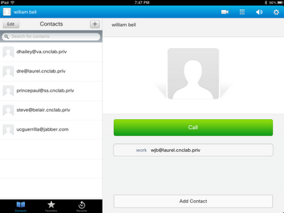 Managing local contacts on the Jabber for iPad client