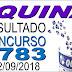 Resultado da Quina concurso 4783 (22/09/2018) ACUMULOU!!!