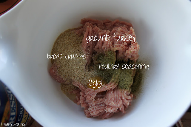 A bowl with bread crumbs, ground turkey, poultry seasoning and egg in it.