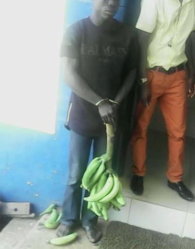 Man arrested and handcuffed for stealing a bunch of plantain (See Photo)