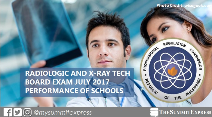Top performing school, performance of schools Radtech, X-Ray Tech board exam July 2017