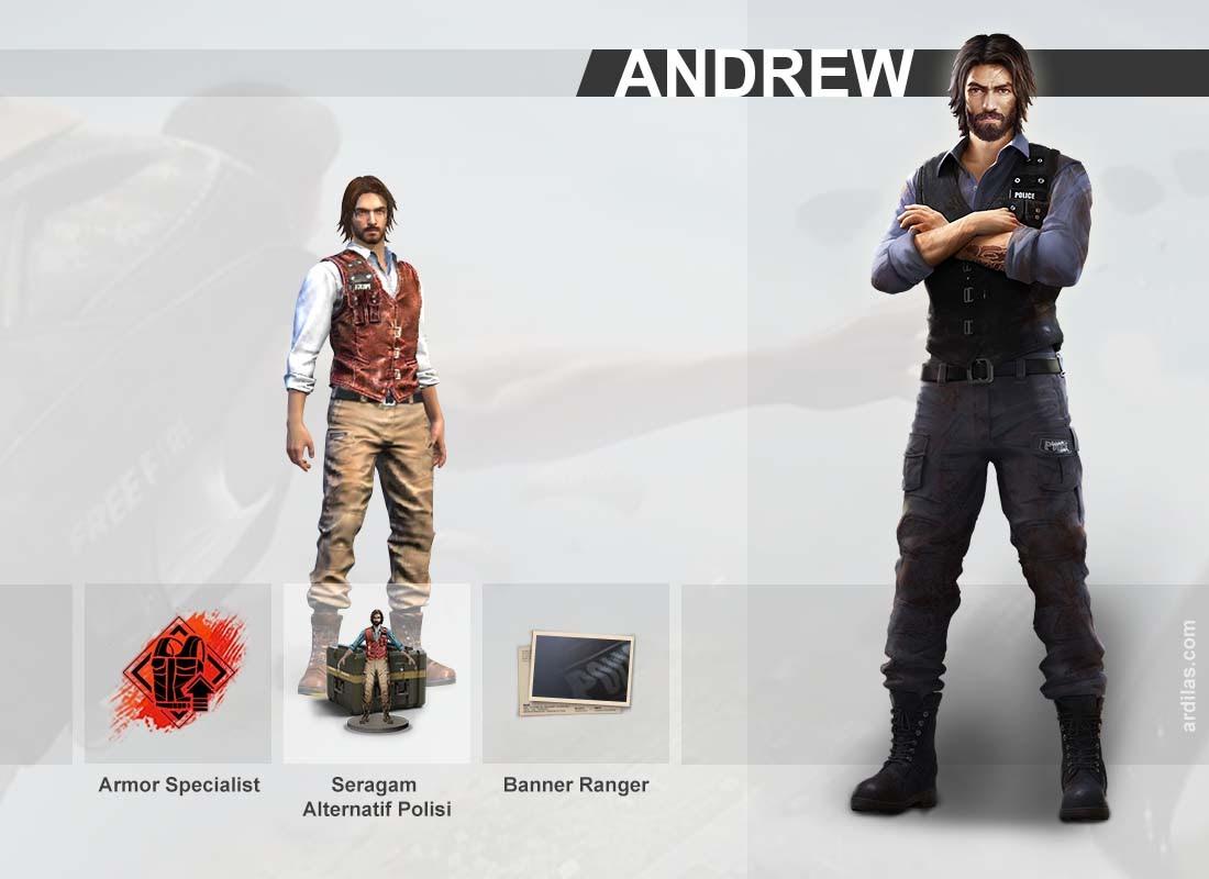 Keahlian armor specialist, seragam alternatif polisi, banner ranger - Andrew - Karakter di Game Free Fire