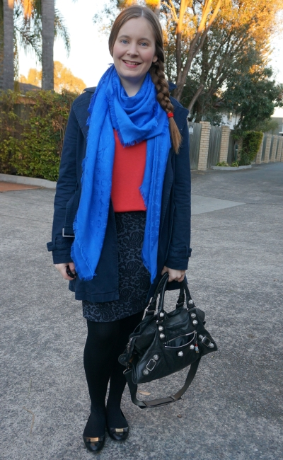 navy macintosh, jacquared pencil skirt and Louis Vuitton shawl scarf with red tee winter office outfit | awayfromblue